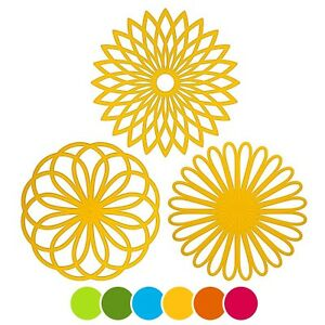 ME.FAN 3 Set Silicone Multi-Use Flower Trivet Mat - Premium Quality Insulated...