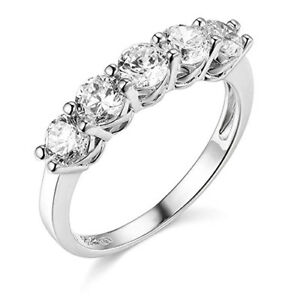 2 Ct Round Cut Real 14k White Gold 5 Stone Trellis Wedding Anniversary Band Ring