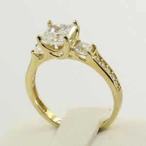 2.5 Ct 14K Real Yellow Gold Princess Cut 3 Stone Engagement Wedding Promise Ring