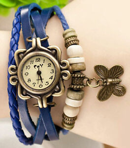 Hipster Butterfly Pendant Beads Blue Faux Leather Bracelet Wrist Watch Gift Box