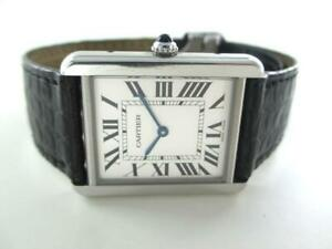 CARTIER WATCH 2715 STAINLESS STEEL LEATHER BRACELET SWISS WATER RESISTANT ROMAN