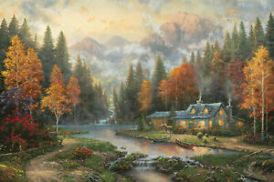 Evening at Autumn Lake Thomas Kinkade EE 2 28x42 Canvas NEW Giclee