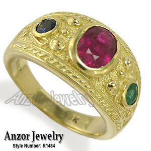 Men's 18k Gold Three-Stone Ruby Sapphire Emerald Ring Style: R1484 Free Shipping