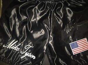 Signed Rare 'Iron' Mike Tyson Branded Boxing Trunks   Shorts