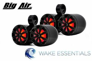 Wakeboard Tower Big Air Kicker Dual Bullet *LED* Speakers *Black Powder Coat*