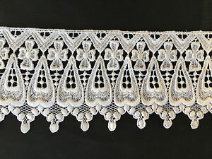 White Off White 4quot; wide Embroidered Venise lace Trim for Bridal DIY Sewing $5.99