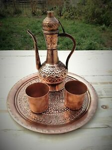 Handmade Turkish Copper Coffee Tea Pot Pitcher Set