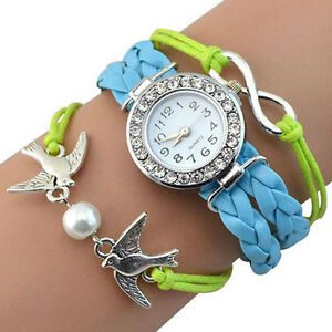 Birds White Bead Rhinestone Blue Knitted Leather Bracelet Wrist Watch Gift Box
