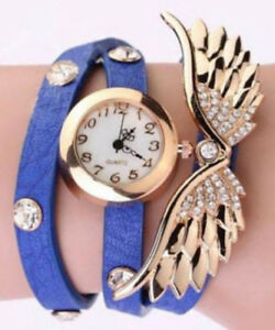 Gold Royal Blue Leather Rhinestone Freedom Angel Wings Bracelet Watch Gift Box