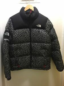Supreme x The North Face TNF Grey Leopard Nuptse 700 Jacket Box Logo Waxed