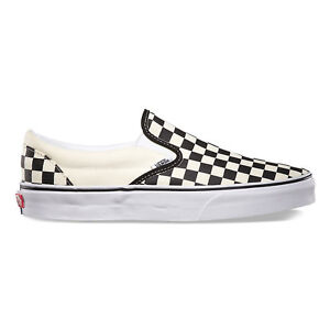 Vans CHECKERBOARD SLIP-ON BLACKOFF WHITE CHECK  Canvas Classic Shoes Fast Ship
