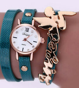 Angel Letters Roman Numerals Dial Blue Leather Bracelet Wrist Watch NIB Gift Box