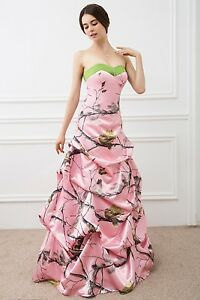 New Pink Camo Wedding Dresses Formal Ball Gown Camouflage Bridal Gowns Custom