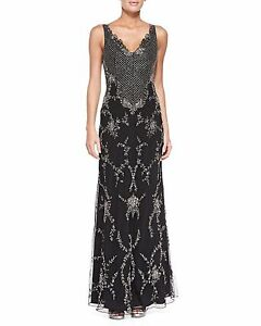 Alice + Olivia Nessa Beaded Scalloped Chiffon Gown Embellished Formal Dress Sz 2