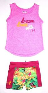 NWT ~~GIRL'S UNDER ARMOUR FITTED SHORTS & DRI-FIT TANK TOP SIZE 4 TODDLER~~