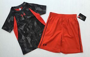 NWT Boys UNDER ARMOUR Outfit Fitted Shirt Size YXS & Shorts Size 5 Heat Gear