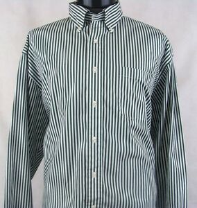 Brooks Brothers Sport Shirt Green & White Stripe Long Sleeve Size XL