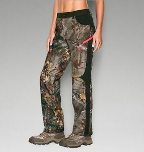 $180 Under Armour Women ColdGear Scent Control Camo Hunting Ice Fishing Pants 12
