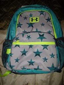 Brand New Girls Gray Green & Yellow Under Armour Bookbag