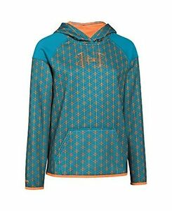 Under Armour Girl's UA Big Logo STORM1 Turquoise Orange Hoodie YLG $49.99 NWT
