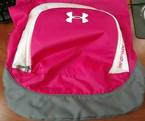 Women's NWT Under Armour sackpack backpack fuscia grey white