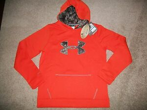 NWT BOYS SIZE YXL UNDER ARMOUR STORM 1 CAMO & ORANGE HOODIE RV $54