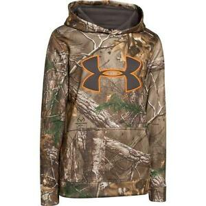 NWT Under Armour Youth Camo Hoodie Realtree BIG LOGO Size L