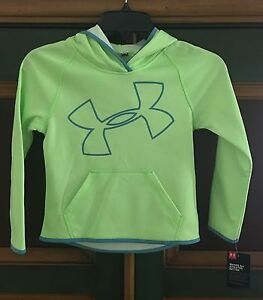 NWT UNDER ARMOUR GIRLS LONG SLEEVE PULLOVERHOODIE BRIGHT GREENBLUESIZE 6