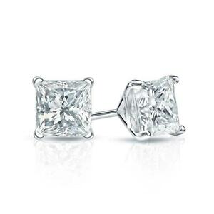 2.50 Ct. Princess Cut Earrings Studs Real 14K White Gold Martini Screw Back