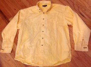 Brooks Brothers Sport Shirt Men's Yellow Cotton LS Button Front Size Large