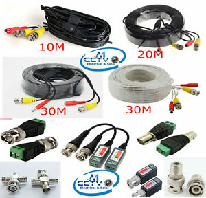 BNC Video Power Cable 10M 20M 30M Analog AHD CCTV Surveillance Camera DVR Kit