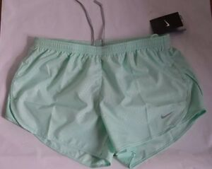 bnwt women's NIKE dri-fit green running shorts with back zip up pocket size L