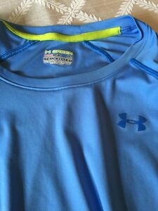 Blue Heat Gear MENS UNDER ARMOUR Shirt Athletic Semi Fitted Short Sleeve Size MD