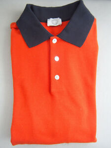 NEW Authentic HERMES Mens Basic Casual Sport Golf Polo Shirt Navy Orange L Large