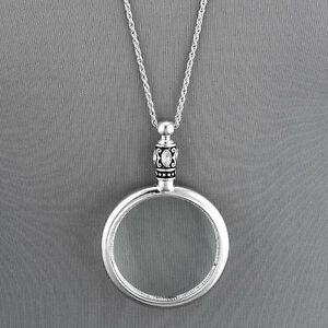 Antique Silver Chain 5 X Magnifying Glass Design Pendant Necklace $12.99