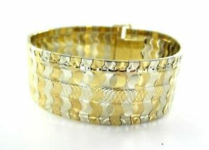 18KT YELLOW & WHITE GOLD BRACELET BANGLE CUFF DESIGN WIDE 2 TONE FINE #016351701