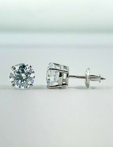 1.50 Ct Round Earrings Studs Solid 950 Platinum Brilliant Cut Basket Screw Back