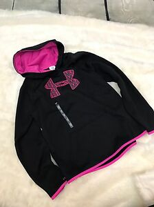 NWT UNDER ARMOUR STORM1 BLACK & PINK LONG SLEEVE HOODIE JACKET~GIRLS SIZE YLG