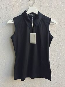 NWT Nike Golf Black Sleeveless Collared Shirt Body Mapping Dry Fit XS $55