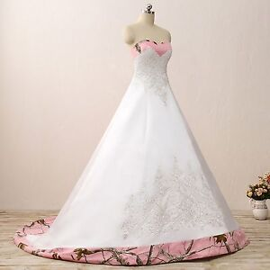 New Ball Gown Camo Wedding Dress Formal Pink Camouflage Embroidery Bridal Gowns
