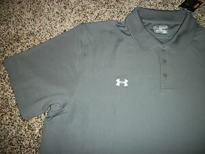 UNDER ARMOUR New NWT Mens 2XL XXL Polo Shirt Gray Solid Loose Fit