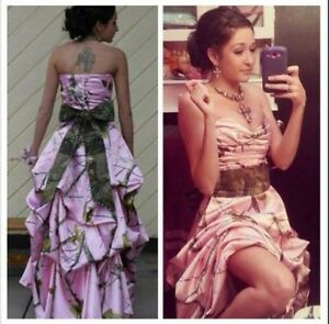 High Low Pink Camo Evening Dresses Formal Camouflage Bow Prom Party Bridal Gowns