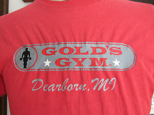 Vintage Golds Gym T-Shirt Dearborn MI #65 Sz Small Made in USA Minor Defects