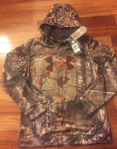 Boys Under Armour ColdGear Storm Realtree Camo Hooded Sweatshirt XL MSRP $59