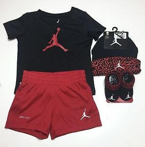 DRI - FIT JORDAN BABY 4 piece Outfit set T-shirt Shorts Cap & Booties 3-6M RED
