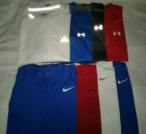 10 Men Dri-Fit Athletic Workout Shirts Nike Adidas Under Armour LXL