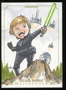 2015 Topps Star Wars Masterwork GOLD Sketch Card #ed 35 by ANDIE TONG