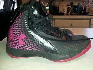 Womens black & pink 'Under Armour' clutch fit micro fit basketball shoes siz 6.5