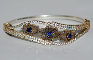 NEW TURKISH COLLECTION !! Made IN CAD !! CZ SAPPHIRE .925 SILVER BRACELET x 1Pcs