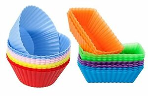 24pcs Round Rectangular Silicone Baking Cup Cupcake Liner Vibrant Muffin Mold In